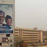A billboard for Nigeria's incumbent president, Muhammadu Buhari (left), and his vice-president, Yemi Osinbajo, who won re-election in February of this year. Photo credit: CPJ/Jonathan Rozen.