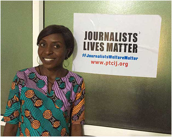 Evelyn Okakwu, a reporter for Premium Times, pictured at the Center for Investigative Journalism in Abuja. Photo credit: CPJ/Jonathan Rozen.