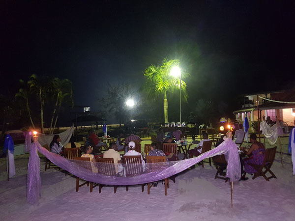 A sectionof the dining area on the beach. Photo by Joel Cole.