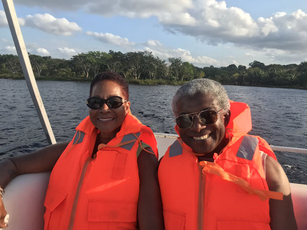My wife and I on the soca boat cruise. Photo by Joel Cole.