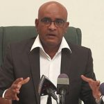 Guyana's Opposition Leader, Bharrat Jagdeo, speaking at the news conference, yesterday.