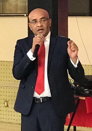 Opposition Leader, Bharrat Jagdeo, seen emphasising a point in a recent speech.