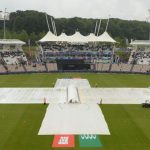 The covered pitch at this year's ICC Cricket World Cup, on June 19, when South Africa's game against the West Indies was abandoned. Both sides got one point. Photo credit: ICC.