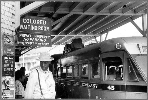 At the bus station in Durham, N.C., in the 1930s. Photo credit: Library of Congress/FSA.