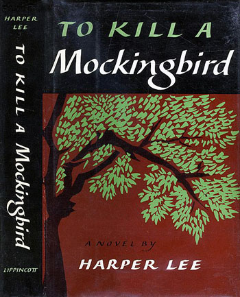 "First-edition cover of To Kill a Mockingbird (1960) by the American author, Harper Lee. The cover of the book showing title in white letters against a black background in a banner above a painting of a portion of a tree against a red background. The credit ""Jacket design by Shirley Smith"" is found on the left jacket flap."