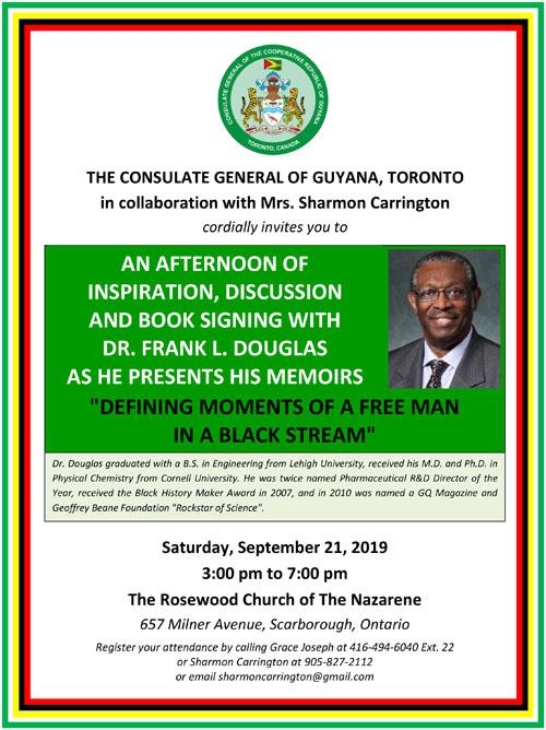 Dr Frank Douglas Book Signing Flyer -- Large