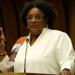 Barbados Prime Minister, Mia Amor Mottley, delivering the prestigious 16th Prebisch Lecture, yesterday, at the Palais des Nations, in Geneva Switzerland. Photo credit: CMC.