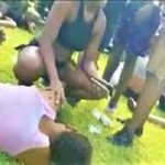 This scene from a video, posted on social media, shows a number of young people passed out at the Hasely Crawford Stadium, following a party.
