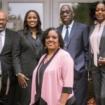 The new BBPA Board (from left to right): Miriam Mutale Simmonds, Ross Cadastre, Nadine Spencer, Frances DelSol, Michael Pinnock, Elaine Thompson and Ugochi Nwabueze. Absent from photo: Roderick Brereton, Donna Walwyn and S.I. Rustum Southwell. Photo contributed.