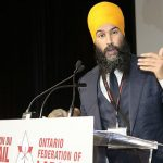 Federal New Democratic Party (NDP) Leader, Jagmeet Singh seen speaking at an Ontario Federation of Labour convention several weeks after winning the New Democratic Party leadership election. Photo credit: OFL Communications Department - CC BY 2.0.
