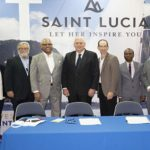 St. Lucia's Prime Minister, Allen Chastanet (center), with officials of Carnival Corporation and Royal Caribbean Cruises at the signing of the Memorandum Of Understanding (MOU).