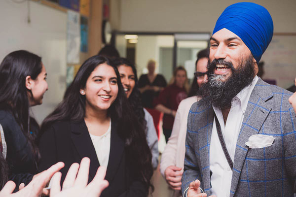 Jagmeet Singh seen chatting with some supporters. Photo credit: NDP.