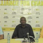 AFC officials, including treasurer, Dominic Gaskin (left), and Deputy General Secretary, Lennox Craig (center), addressing the media.