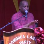 Dominica's Prime Minister, Roosevelt Skerrit, speaking at a DLP campaign rally. Photo credit: CMC.
