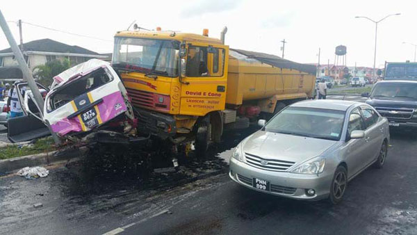 A truck plows into a minibus in a recent automobile accident in Guyana.