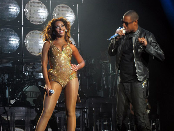 "Beyoncé performing on the ""I Am ... World Tour"" with Jay-Z, whom she married in 2008. Photo credit: idrewuk -- originally posted to Flickr as Hello hubbie!, CC BY 2.0."