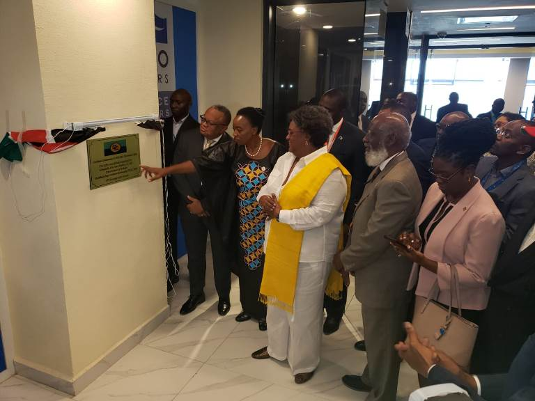 Barbados Prime Minister, Mia Amor Mottley (fourth from left), unveiled a plaque at the ultra-modern business complex in Nairobi, Kenya, which will be the home of a joint diplomatic mission. Photo credit: Barbados PMO.