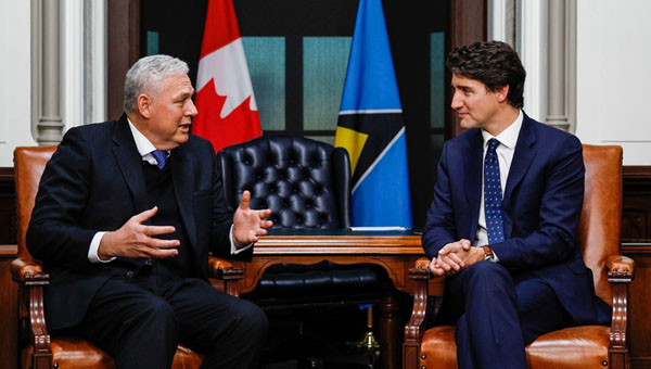Prime Minister, Justin Trudeau, Meets With St. Lucia's PM And CARICOM Chair, Allen Chastanet