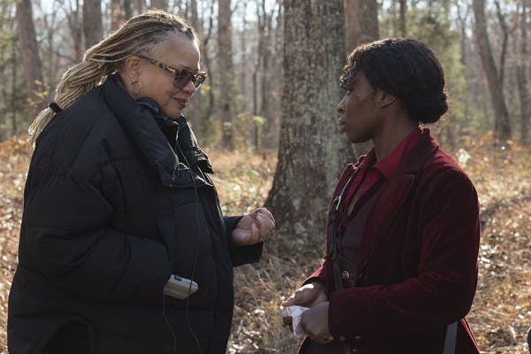 Kasi Lemmons, co-Writer and Director, and Cynthia Erivo, right, who plays Harriet Tubman, filming 'Harriet.' Photo credit: Focus Features.