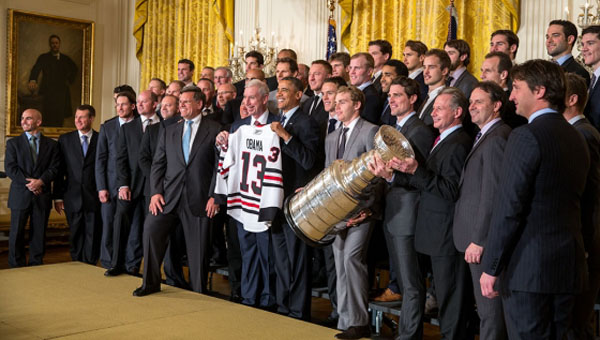 The 2013 Stanley Cup champion team, the Chicago Blackhawks, meets President Obama at the White House. Official White House photo by Pete Souza.