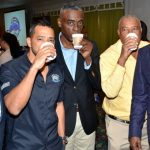 Jamaica's Tourism Minister, Edmund Bartlett (right), sips coffee along with (from left): Chairman of the Jamaica Coffee Exporters Association, Norman Grant; Chief Executive Officer, Stoneleigh Coffee, Stephen Shirley; Acting Director General, Jamaica Agricultural Commodities Regulatory Authority, Gusland McCook; and Jamaica Agricultural Society (JAS) President, Lenworth Fulton. They were at Thursday's (January 9) launch of the third annual Jamaica Blue Mountain Coffee Festival at The Knutsford Court Hotel in New Kingston. Photo credit: Mark Bell/JIS.