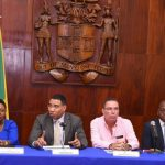 Jamaican Prime Minister, Andrew Holness (third from left), addresses a stakeholder meeting on the development of Port Royal, at Jamaica House, in St. Andrew, on January 8. Listening keenly (from left) are: Minister of Tourism, Edmund Bartlett; Minister of Culture, Gender, Entertainment and Sport, Olivia Grange; Minister without Portfolio in the Ministry of Economic Growth and Job Creation, Daryl Vaz; Minister without Portfolio in the Ministry of Economic Growth and Job Creation, Senator Pearnel Charles Jr.; and Permanent Secretary in the Office of the Prime Minister, Audrey Sewell. Photo credit: Rudranath Fraser/JIS.