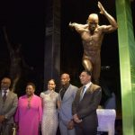 Jamaica's Prime Minister, Andrew Holness (right), and Minister of Culture, Gender, Entertainment and Sport, Olivia Grange (second left), join star sprinter, Asafa Powell (second right), at the unveiling of his statue at Statue Park, National Stadium, in Kingston, on Sunday (February 9). Sharing the moment are Powell's wife, Alyshia Powell (centre) and Sculptor, Basil Watson. Photo credit: Donald De La Haye/JIS.