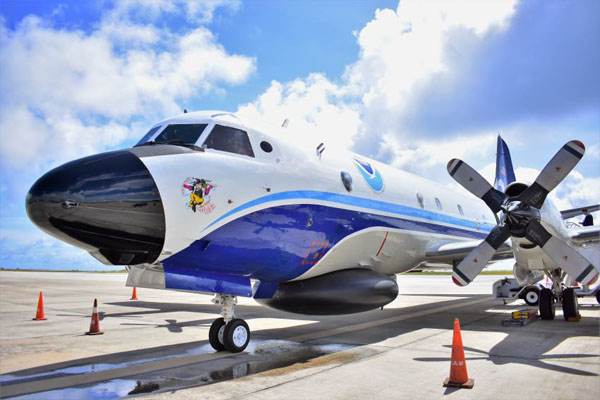 The NOAA hurricane hunter at the Grantley Adams International Airport. Photo credit: C.Pitt/BGIS.