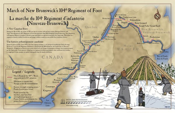 The 104th is an under-recognized military march on par with great marches in history. Here the route is mapped out. Photo credit: Drew Kennickell/The St. John River Society.