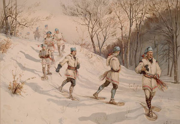 Lithograph on wove paper of 'Snowshoeing Club of Montréal.' Several men are depicted walking in the snowy woods with snowshoes. Photo credit: Henry Sandham (1842-1910)/Library and Archives Canada, Acc. No. R9266-1432, CC BY-NC.