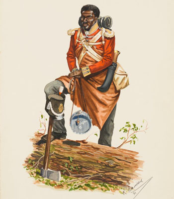 John Marrion depicted here was part of the 104th (New Brunswick) Regiment of Foot. Photo credit: Beaverbrook Collection of War Art/Canadian War Museum/CWM 19810948-008 (NO REUSE).