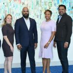 The Caribbean Society of Hotel Association Executives' Executive Committee comprises: Brian Frontin (center), with (from left): Miles B. M. Mercera of Curaçao; Véronique Legris of Saint Martin; Stacy Cox of Turks & Caicos; and St. Lucia's Noorani Azeez.