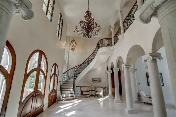 The grand foyer. Photo credit: Drone Media Solutions, via Dorsey Alston Realtors.