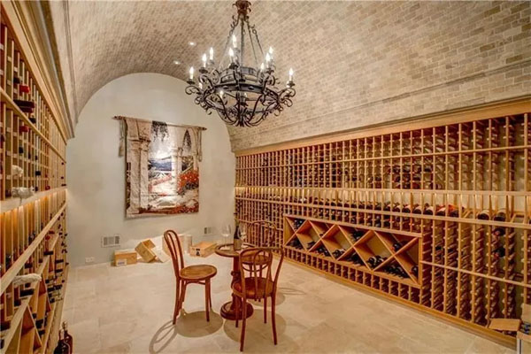Even the wine cellar is palatial. Photo credit: Drone Media Solutions, via Dorsey Alston Realtors.