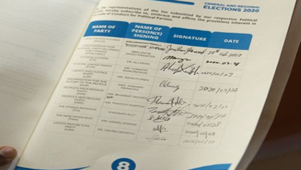 Political Parties Sign Guyana Elections Commission's Code Of Conduct