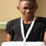 "Jamaican student with fractured arm from ""jump, tripping"" game. Photo courtesy Jamaica Gleaner."