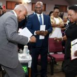 Jamaica's Minister of Culture, Gender, Entertainment and Sport, Olivia Grange (right) and Pastor of the Fellowship Tabernacle, Al Miller, displaying their dancing skills, at the Reggae Month 2020 Church Service, held on Sunday (February 2), at Fellowship Tabernacle in Kingston. Enjoying the moves at centre, is Custos of Kingston, Steadman Fuller, who represented the Governor-General. Photo credit: Adrian Walker/JIS.