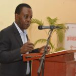 Grenada's Prime Minister, Dr. Keith Mitchell, addresses launch of the G-CREWS Project.