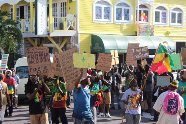 The Rastafarian Community in St. Kitts-Nevis seen demonstrating in the capital in 2019. Photo contributed.