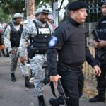 Trinidad and Tobago Police Commissioner, Gary Griffith, leading police officers in securing the capital, during Carnival celebrations. (TTPS photo).