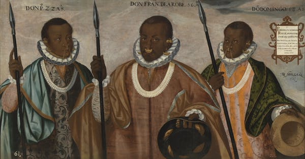 A portrait of three men who are part Indigenous or Indian and part African American. Global trade is evidenced from their clothing and accessories.'Los tres mulatos de Esmeraldas Sánchez Galque'. Photo credit: Adrián Sánchez Galque/Museo de América de Madrid.