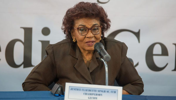 GECOM Chair, former Justice Claudette Singh.