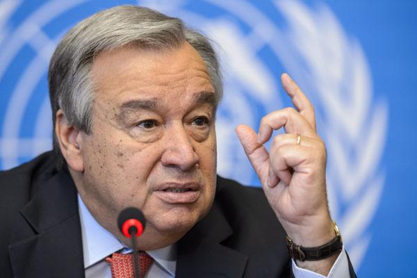 UN Secretary-General, António Guterres. Photo credit: FABRICE COFFRINI/AFP/Getty Images).
