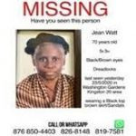 "Jean Watt, the 70-year-old wife of musical icon, Neville ""Bunny Wailer"" Livingstone, is missing."