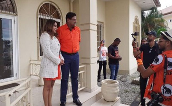 Former Suriname Justice Minister, Chandrikapersad (Chan) Santokhi, Leader of the Progressive Reform Party (VHP) -- the largest party in the opposition that won 21 of the 51 seats in the national assembly -- and his wife, speak to reporters, after the election.
