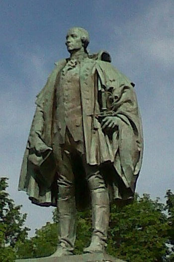 The statue of Edward Cornwallis in Halifax, which has been an object of controversy, because of Cornwallis's treatment of Mi'kmaq people in the 18th century, was removed from a city park in January 2018. Photo credit: Hantsheroes via Wikimedia Commons.