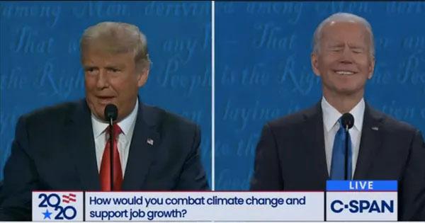 Biden laughs off a Trump attack. Photo credit: C-SPAN.