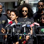 Members of Black Lives Matter-Toronto address the media at the activist organisation's press conference on Thursday, July 7, 2016. Photo credit: Black Lives Matter-Toronto archives.