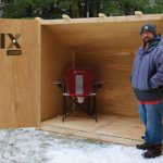 Guest Contributor, Joe Overlock, seen with his DIY budget ($150) ice fishing shanty. Photo credit: Fix-it.com.