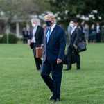 US President Donald J. Trump walks across the South Lawn of the White House to board Marine One, Friday, October 2, 2020, en route to Walter Reed National Military Medical Center in Bethesda, Md. Photo credit: Official White House photo by Andrea Hanks.